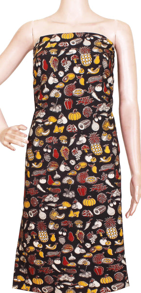 Kalamkari Cotton Salwar Tops/Kurti material with Small Vegetables Designs - Black(K26002A)*Kids Size - Intro Offer*, Tops - Swadeshi Boutique