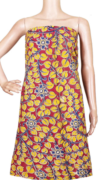Kalamkari cotton Salwar Tops/Kurti material with Florals- Pink(26166B) *Sale 50% Off* - Swadeshi Boutique