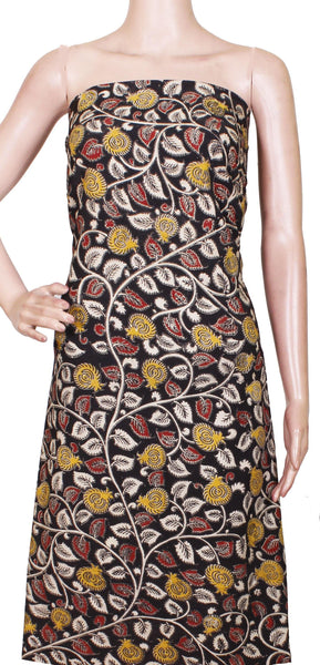 [26179B] Kalamkari Cotton Salwar Tops/Kurti material with Flourals - Black(26179B), Tops - Swadeshi Boutique