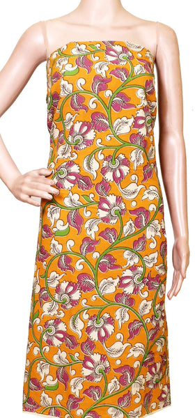 Kalamkari Cotton Salwar Tops/Kurti material with all-over pattern Flowers - Mustard (26192B), Tops - Swadeshi Boutique