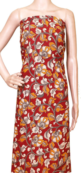 Kalamkari Cotton Salwar Tops/Kurti material with Flowers - Red (26192C), Tops - Swadeshi Boutique