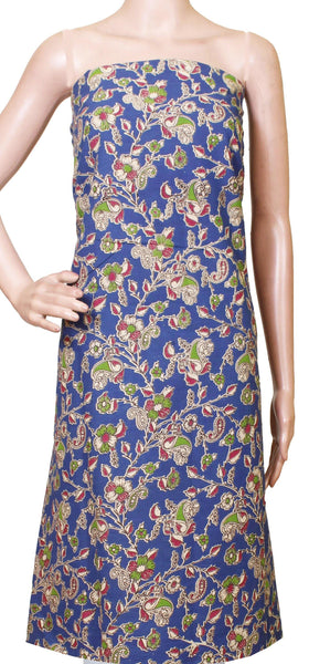 Kalamkari Cotton Salwar Tops/Kurti material with all-over Flowers pattern - Blue (26193D) - Swadeshi Boutique