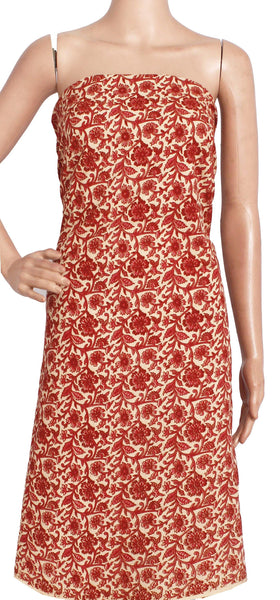 Kalamkari Cotton Salwar Tops/Kurti material with  Flowers - Red (26194A) - Swadeshi Boutique