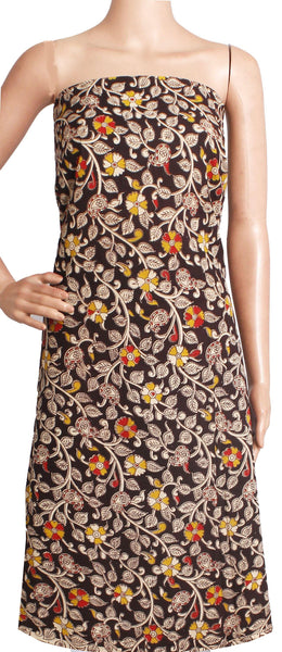 Kalamkari Cotton Salwar Tops/Kurti material with Flourals  - Black(26195A) - Swadeshi Boutique