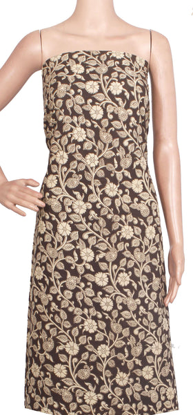 Kalamkari Cotton Salwar Tops/Kurti material with Flourals  - Black(26195B), Tops - Swadeshi Boutique