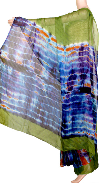 Georgette Laharia pattern saree with a Shibori print patly pallu & blouse design - Green (27015A)* Sale 60% Off *, Sarees - Swadeshi Boutique