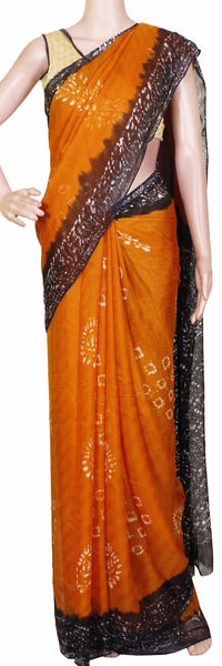 Georgette Laharia pattern saree with a modern pallu & blouse design - Mustard (27016A)* Sale 50% Off *, Sarees - Swadeshi Boutique