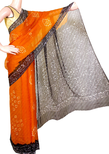 Georgette Laharia pattern saree with a modern pallu & blouse design - Mustard (27016A)* Sale 60% Off *, Sarees - Swadeshi Boutique