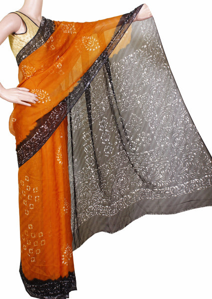 Georgette Laharia pattern saree with a modern pallu & blouse design - Mustard (27016A)