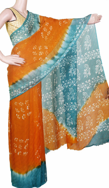 4d3a77e875086a * Sale Rs.450 off * Georgette Laharia pattern saree with a modern pall –  Swadeshi Boutique