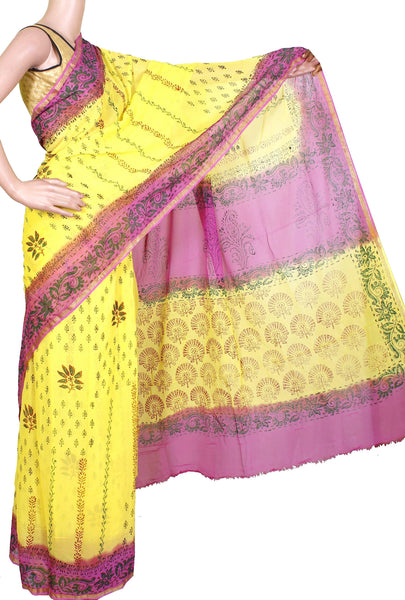 Georgette Laharia pattern saree with a modern pallu & blouse design - Yellow (27022A)* Sale 60% Off * - Swadeshi Boutique