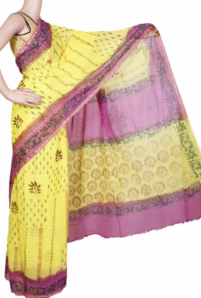 Georgette Laharia pattern saree with a modern pallu & blouse design - Yellow (27022A)