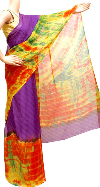 Georgette Laharia pattern saree with a Shibori design pallu & blouse - Violet (27029A)* Sale 60% Off *, Sarees - Swadeshi Boutique