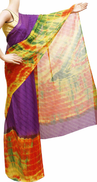 Georgette Laharia pattern saree with a Shibori design pallu & blouse - Violet (27029A)