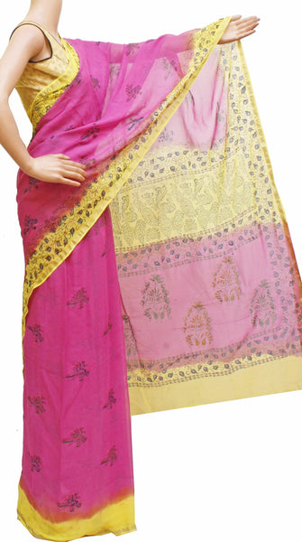 Georgette Laharia pattern saree with a modern pallu & blouse design - Pink (27031A)