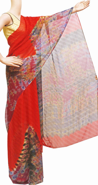 * Sale Rs.250 off * Georgette Laharia saree with beautiful temple border and a shibori design pallu & blouse - Red (27032A)