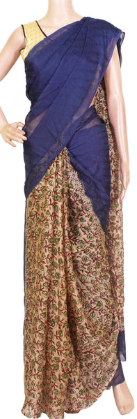 Georgette Laharia pattern saree with a modern pallu & blouse design - Navy Blue (27037A)* Sale 50% Off *, Sarees - Swadeshi Boutique