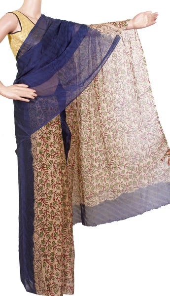 * Sale Rs.350 off * Georgette Laharia pattern saree with a modern pallu & blouse design - Navy Blue (27037A)
