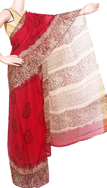 Georgette Laharia pattern saree with a modern pallu & blouse design - Red (27038A)