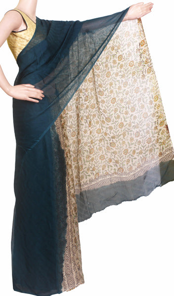 Georgette Laharia pattern saree with a modern pallu & blouse design - Peacock Blue (27041A)