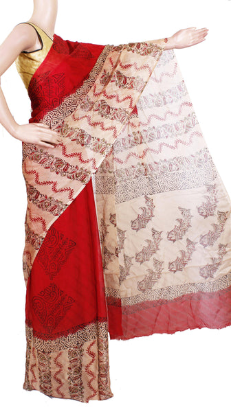 Georgette Laharia pattern saree with a modern pallu & blouse design - Red (27046A)