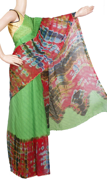 Georgette Laharia pattern saree with a modern pallu & blouse design - Green (27047A)