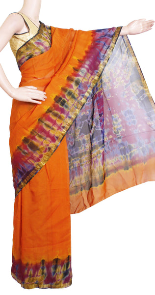Georgette Laharia pattern saree with a Shibori print pallu & blouse design With Zari Border- Orange (27048A)