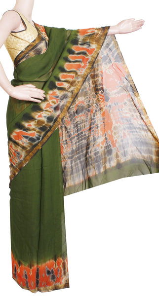 * Rs.350 off* Georgette Laharia pattern saree with a Shibori print pallu & blouse design With Zari Border - Green (27049A)