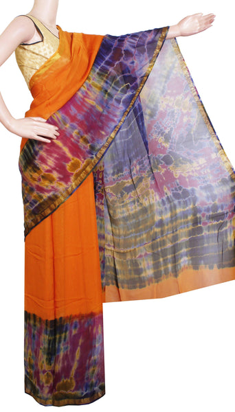 Georgette Laharia pattern saree with a modern pallu & blouse design With Zari Border - Orange (27051A)