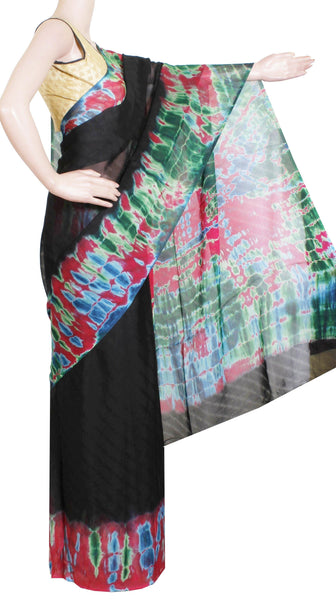 * Sale Rs.350 off * Georgette Laharia pattern saree with a shibori print modern pallu & blouse design - Black (27056A)
