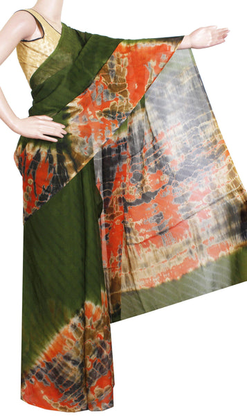 * Sale Rs.400 off * Georgette Laharia pattern saree with a Shibori print pallu & blouse design  - dark Green (27060A)