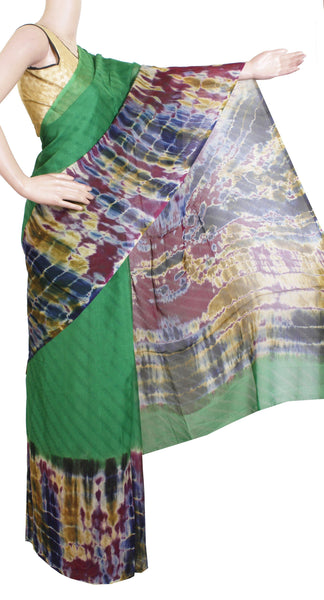 * Sale Rs.400 off * Georgette Laharia pattern saree with a Shibori print pallu & blouse design  - Green (27061A)