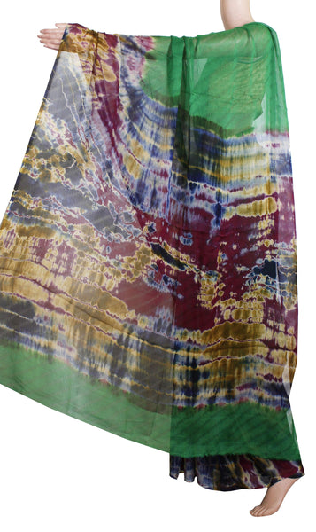 Georgette Laharia pattern saree with a Shibori print pallu & blouse design  - Green (27061A)*Sale 60% Off *, Sarees - Swadeshi Boutique