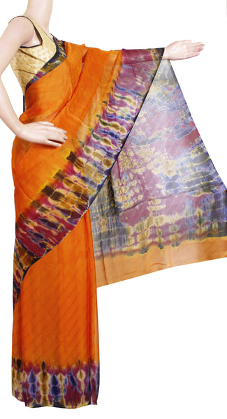 *Clearance sale Rs.500 Off * Georgette Laharia pattern saree with a Shibori print pallu & blouse design  - Mustard (27062A)