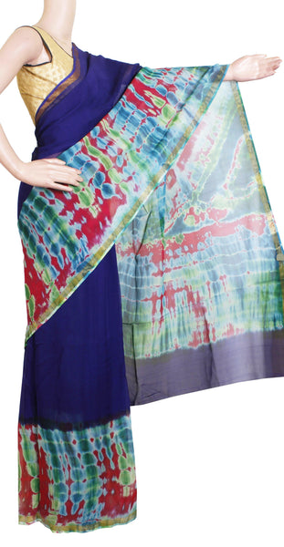 Georgette Laharia pattern saree with a Shibori print pallu & blouse design with Zari Border  - Blue (27064A)