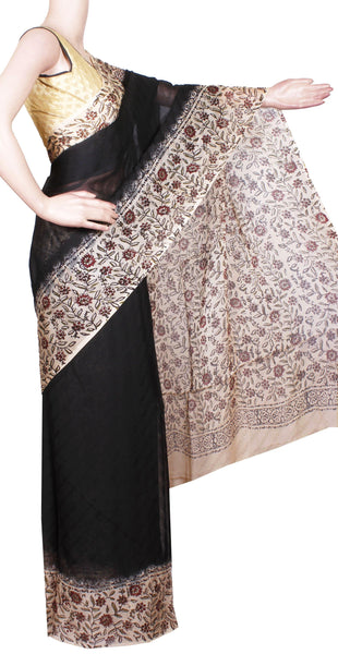 Georgette Laharia pattern saree with a modern pallu & beautiful flower blouse design - Black (27070A)