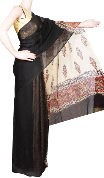 Georgette Laharia pattern saree with a modern pallu & blouse design - Black (27071A)