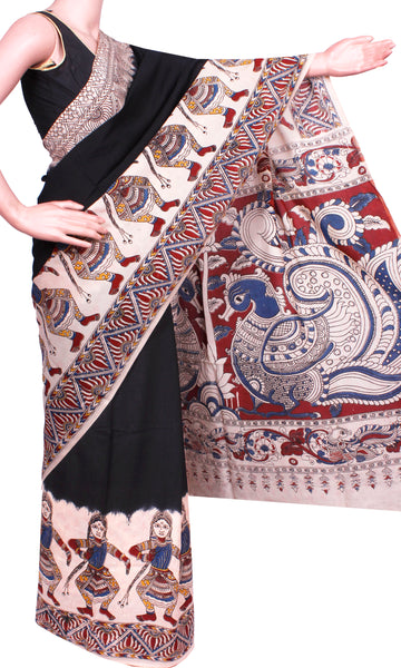 * Rs.300 Off * Only 1 left * Kalamkari Chennur Silk dyed Saree with dancing doll border and a grand pallu - Black (29002A)