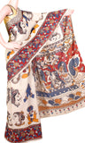 * Rs.100 Off * Kalamkari Chennur Silk Saree with beautiful all over pattern (face) and grand pallu - Beige(29005F), Sarees - Swadeshi Boutique