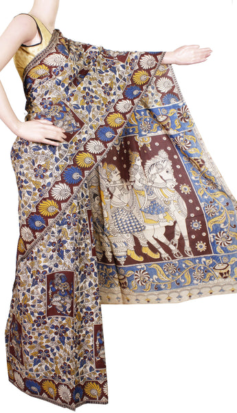 Kalamkari Chennur Silk dyed Saree with Chariot pallu [Beige & maroon] - (29010A)* Rs.250 off *, Sarees - Swadeshi Boutique