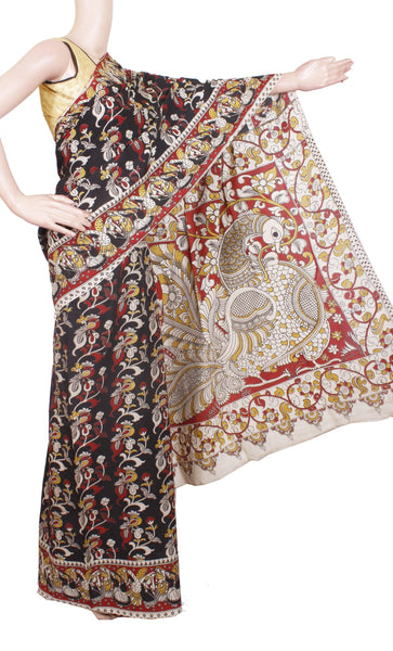 Kalamkari chennur Silk dyed Saree with Peacock in pallu [ Black & Red] - (29015B)* Rs.250 Off *, Sarees - Swadeshi Boutique