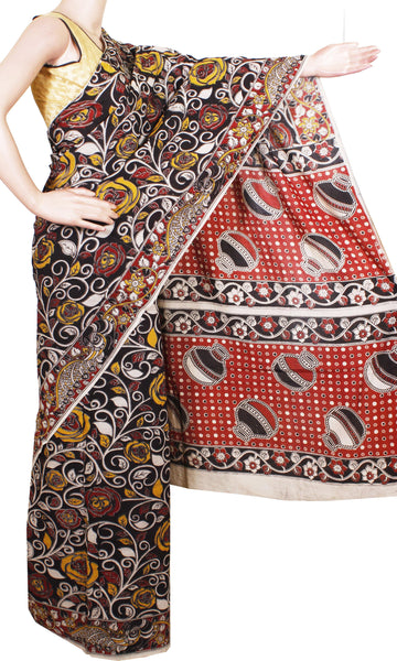 Kalamkari Chennur Silk dyed Saree with Roses in Body and Pots in pallu [Black] - (29024A), Sarees - Swadeshi Boutique