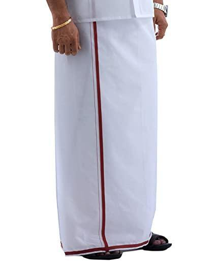Men's Cotton Dhoti with attractive border (Brown) 3.8 meters - 93003A * SALE*, Dhoti - Swadeshi Boutique