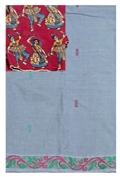 * Clearance SALE * Chettinadu pure cotton saree with a beautiful matching kalamkari blouse material (30029A)