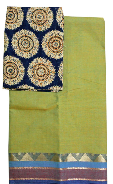 FLASH Sale: Chettinadu pure cotton saree with a beautiful matching kalamkari blouse material (30033A)