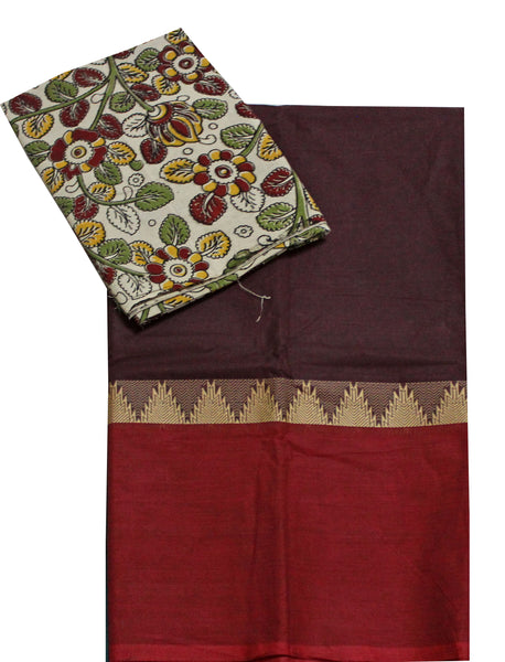 Chettinadu pure cotton saree with a beautiful matching kalamkari blouse material (30037A)