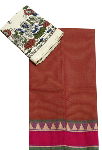 * Aadi Sale! Flat 50% off * Chettinad pure cotton saree with a beautiful multi-pattern kalamkari blouse material (30068A)