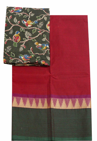 Chettinadu pure cotton handloom temple border saree with a beautiful matching kalamkari blouse material (30095B)
