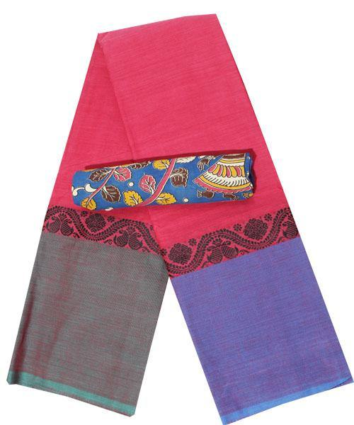 Chettinad Handloom pure cotton saree with a kalamkari blouse material (30096B) *Sale 50% Off*, Sarees - Swadeshi Boutique