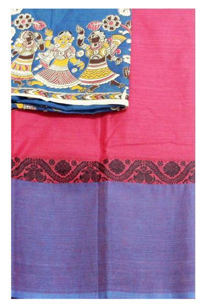 Chettinad Handloom pure cotton saree with a beautiful multi-pattern kalamkari blouse material (30096B), Sarees - Swadeshi Boutique